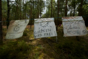 Peace flags hang between the trees at the site of weekly prayers - with a birds eye view clear cut through the forest to the entrance of the salt dome outside of Gorleben.